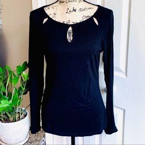 Sexy keyhole cutout  black long sleeve top